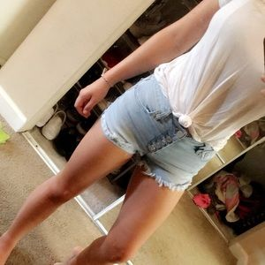 High Waisted Button Down Jean Shorts